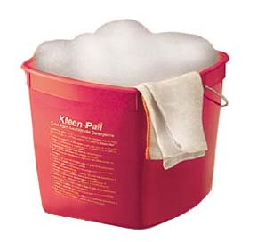 SANITATION PAIL, 6 QT, PLASTIC, RED