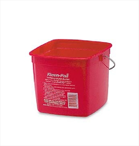SANITATION PAIL, 3 QT, PLASTIC, RED